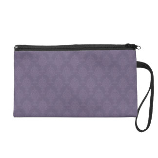 Damask Light and Dark Purple Wristlet Purse
