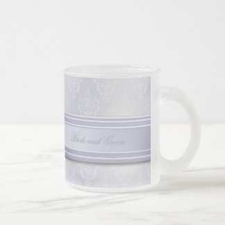 Damask Light Blue Frosted Glass Coffee Mug