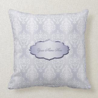 Damask Light Blue Nameplate Throw Pillow