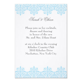 Damask light blue Wedding Reception Cards
