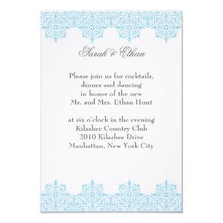 "Damask light blue Wedding Reception Cards 3.5"" X 5"" Invitation Card"