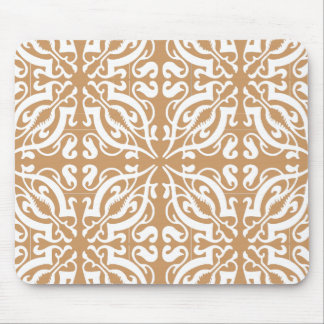 Damask - Light Brown & White Mouse Pad