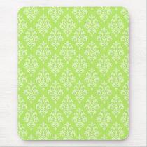 Damask Lime Green Mousepad