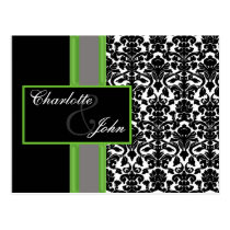 damask lime   Save the Date Postcard