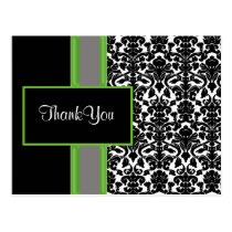 damask lime ThankYou Cards