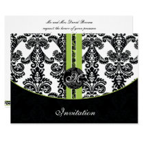 damask lime wedding invitation