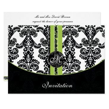 damask lime wedding invitation