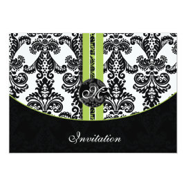 Black and Lime Damask Wedding   Invitations
