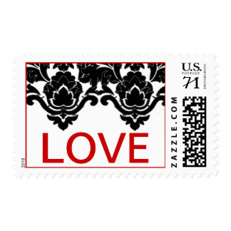 Damask Love print - Red Postage