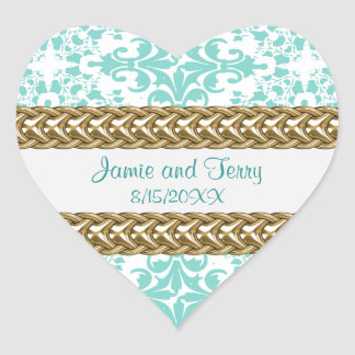 Damask Lt Blue White Gold Heart Stickers