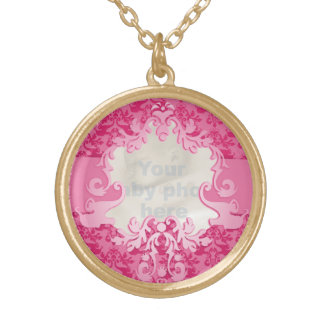 Damask lucky pink add your special photo necklace