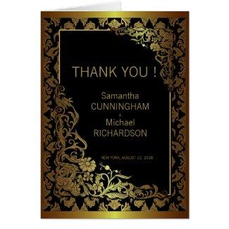 Damask Luxury Golden Black Wedding Greeting Cards
