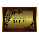 Damask Luxury Golden Red Weding Table Numbers Greeting Cards