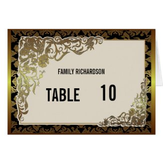 Damask Luxury Golden Wedding Table Number Card