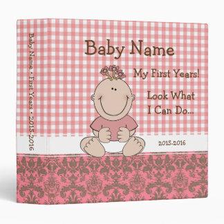 Damask Mango Pink Baby Girl Pink Binder