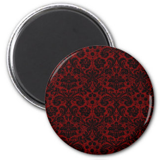Damask Maroon Black 2 Inch Round Magnet