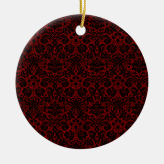 Damask Maroon Black Ceramic Ornament