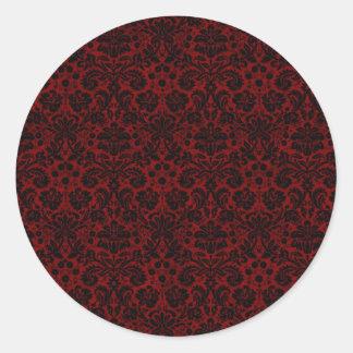 Damask Maroon Black Classic Round Sticker