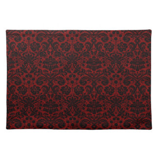 Damask Maroon Black Cloth Placemat