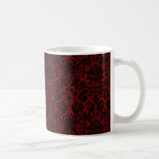 Damask Maroon Black Coffee Mug