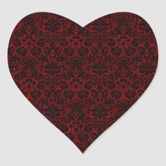 Damask Maroon Black Heart Sticker