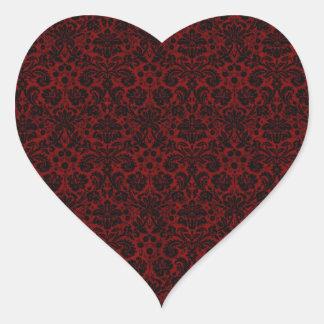 Damask Maroon Black Heart Sticker
