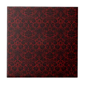 Damask Maroon Black Tile