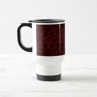 Damask Maroon Black Travel Mug