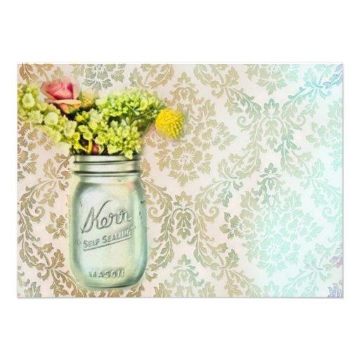 damask mason jar floral vintage birthday party custom invites