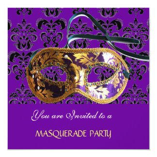 DAMASK MASQUERADE PARTY purple blue Card