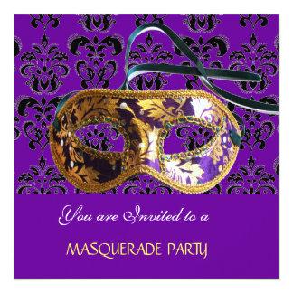 """DAMASK MASQUERADE PARTY purple blue 5.25"""" Square Invitation Card"""