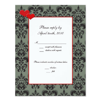 Damask Matching RSVP Cards Red Trim and Hearts