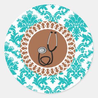 Damask Medical Stethoscope Design Classic Round Sticker