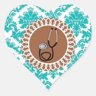 Damask Medical Stethoscope Design Heart Sticker