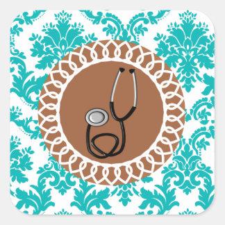 Damask Medical Stethoscope Design Square Sticker
