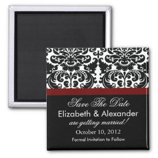 Damask Merlot Red Save The Date Magnet