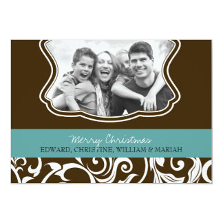 Damask Merry Christmas Family Photo Holiday Card
