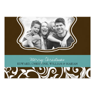 Damask Merry Christmas Family Photo Holiday Card