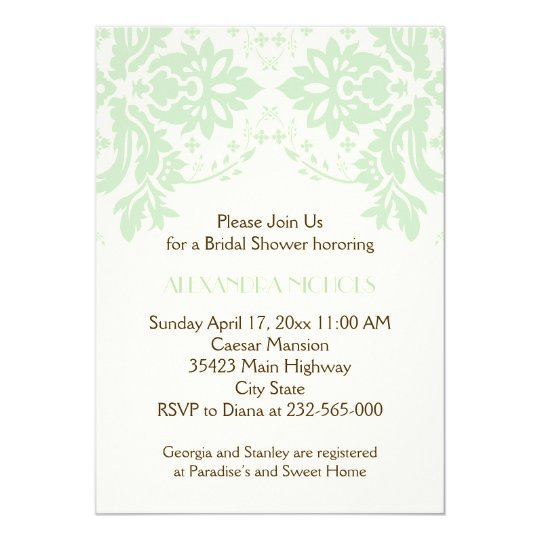 Damask Mint Green Ivory Wedding Bridal Shower Card
