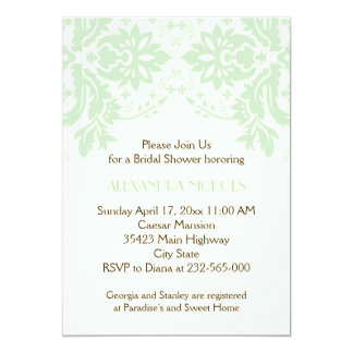 Damask mint green, ivory wedding bridal shower personalized invitations