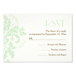 Damask mint green, ivory wedding RSVP reply card