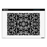 Damask Modern Style Art Black White CurlyQ Laptop Decal