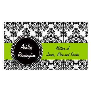 Damask Mommy Calling Cards Apple Green Business Card Templates