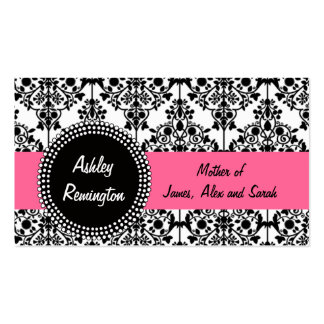 Damask Mommy Calling Cards Pink Business Cards