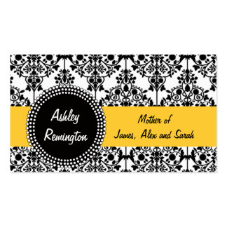 Damask Mommy Calling Cards Yellow