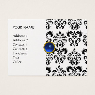 DAMASK MON RUBY bright blue black white pearl Business Card