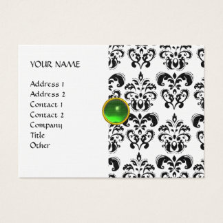 DAMASK MON RUBY bright green grey gold linen Business Card