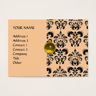DAMASK MON RUBY bright yellow grey gold Business Card