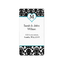 damask monogram aqua ,return address label