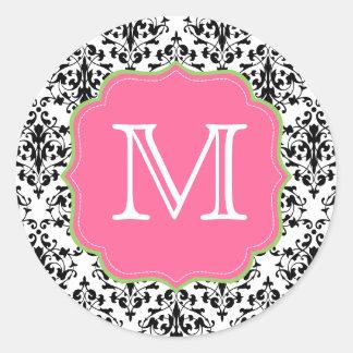 Damask Monogram Black Pink Green Classic Round Sticker